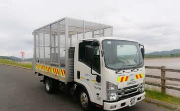 South Lakeland DC Caged Tipper fitted with ISS safety equipment at Morcambe Bay estuary, Greenodd